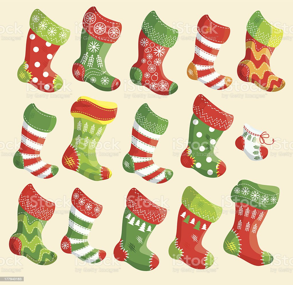 Set of various Christmas stockings. royalty-free stock vector art