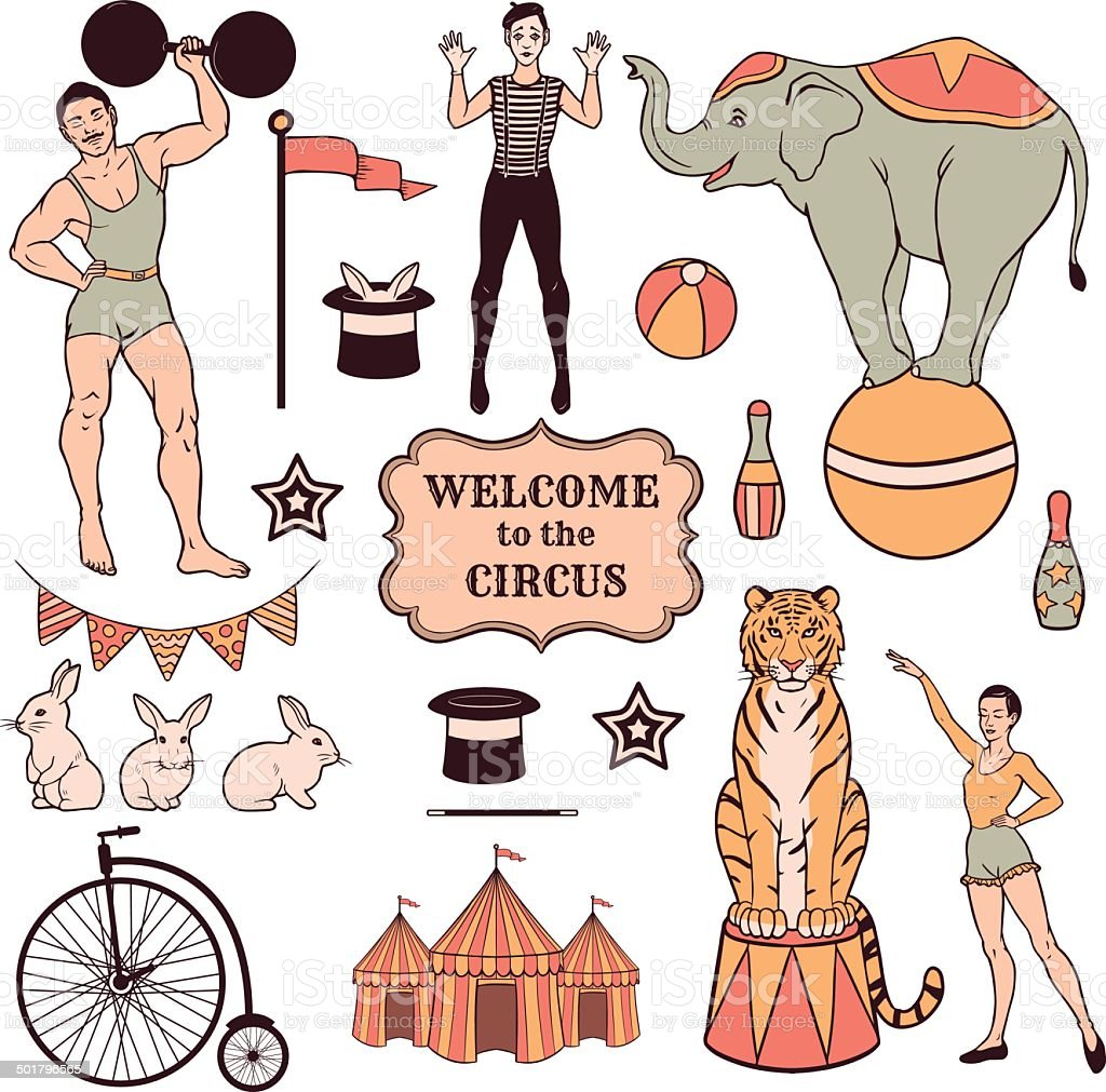 Set of various circus elements, people, animals and decorations vector art illustration