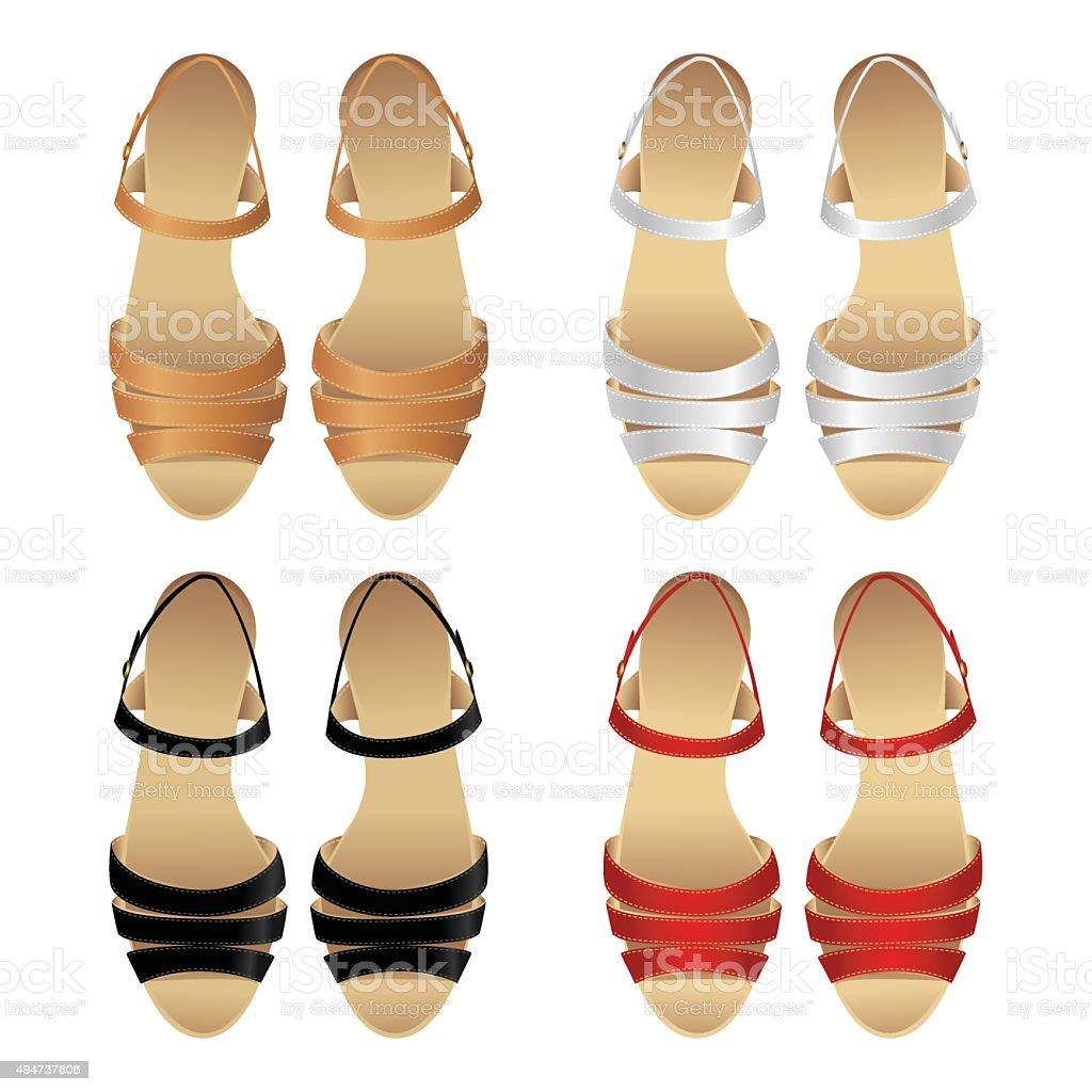 Set of various color sandal vector art illustration