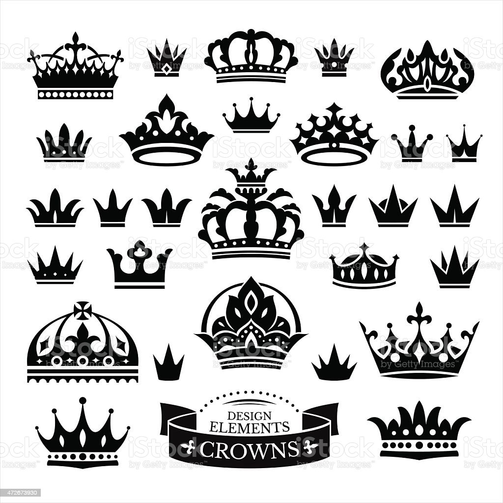 Set of various crown in black isolated on white vector art illustration