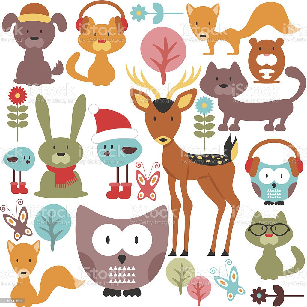 Set of various cute animals vector art illustration