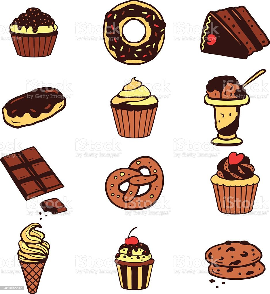 Set of various desserts, sweet food, cakes, cookies, ice-cream vector art illustration