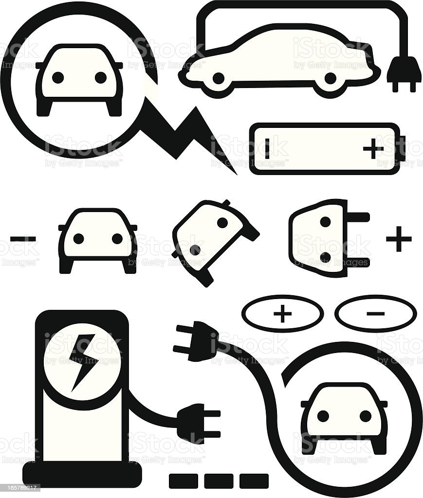 Set of various electric car icons vector art illustration