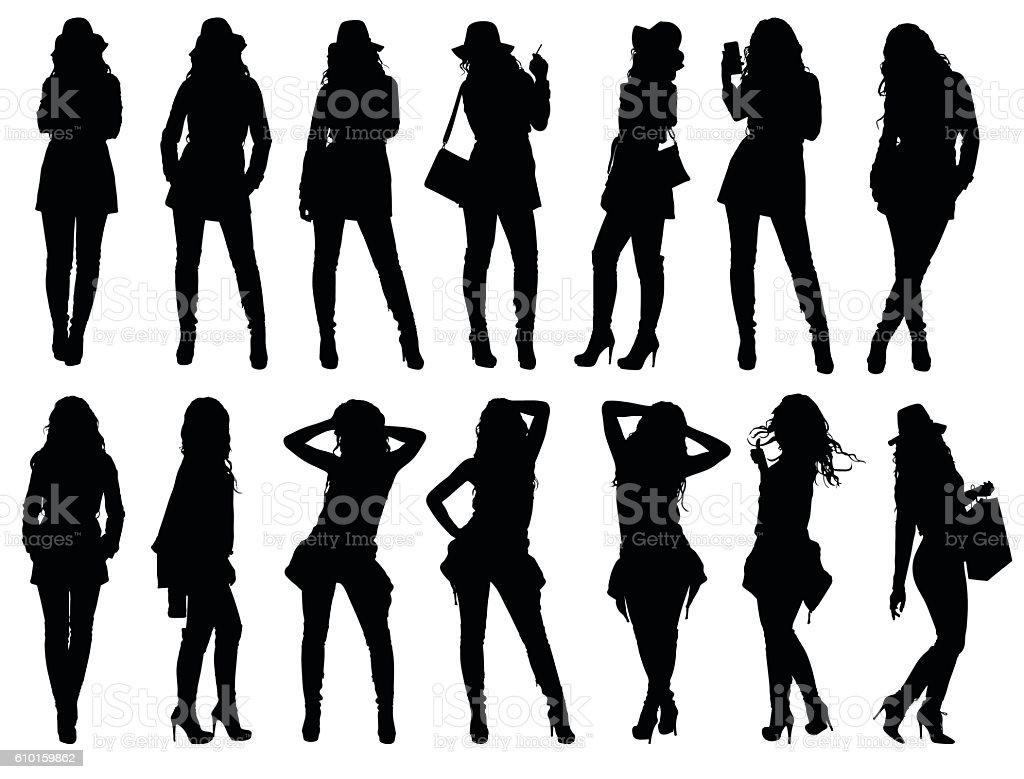 Set of various fashion woman silhouettes. vector art illustration
