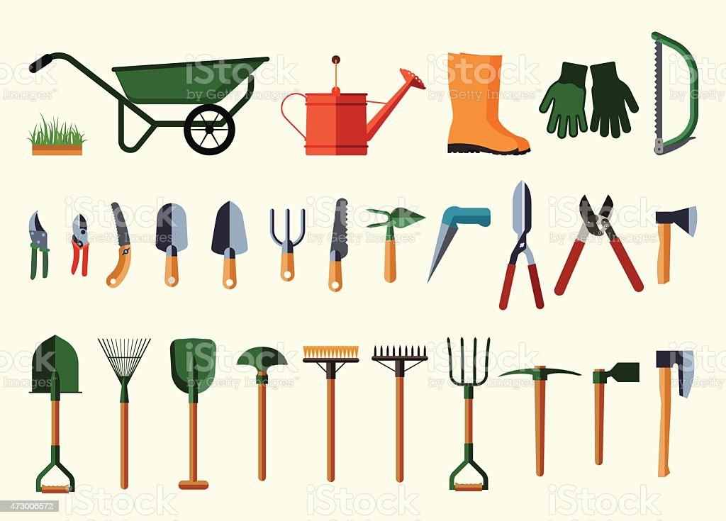 Set of various gardening items. vector art illustration