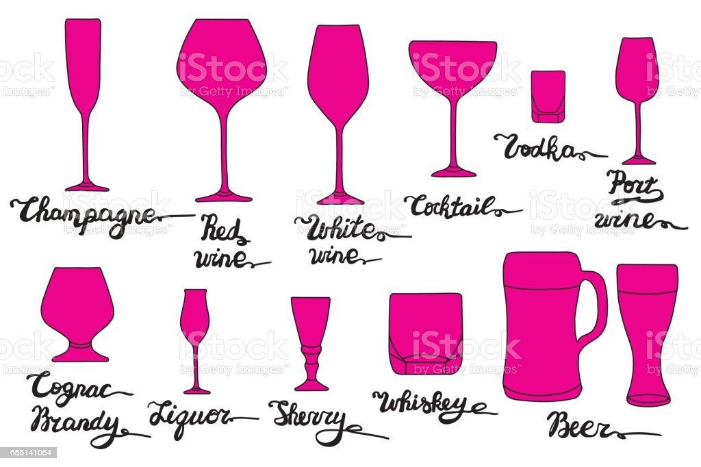Set of various glasses.  Champagne, Red wine, White wine, Cocktail, Vodka, Port wine, Cognac, Brandy, Liquor, Sherry, Whiskey, Beer glasses. vector art illustration