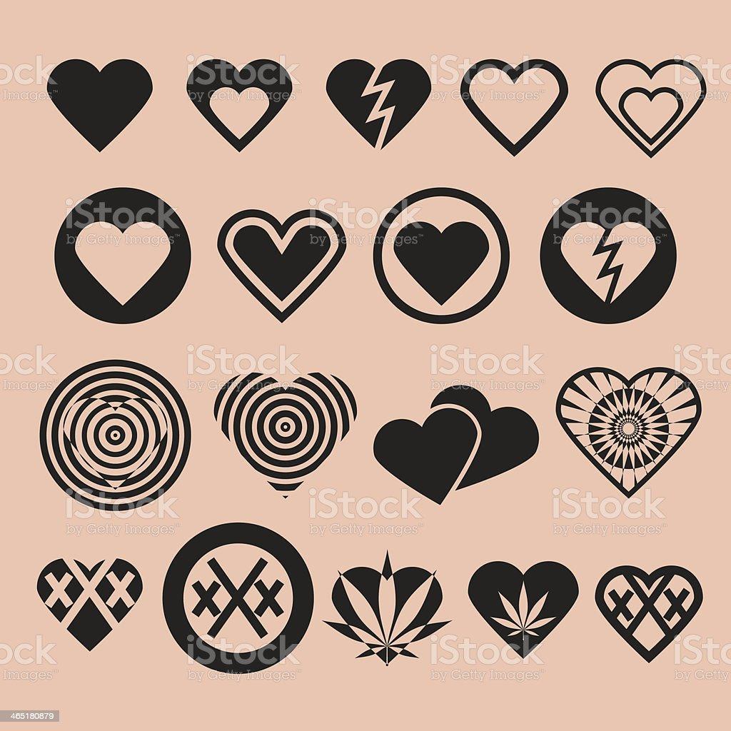 Set of Various Heart Icons vector art illustration
