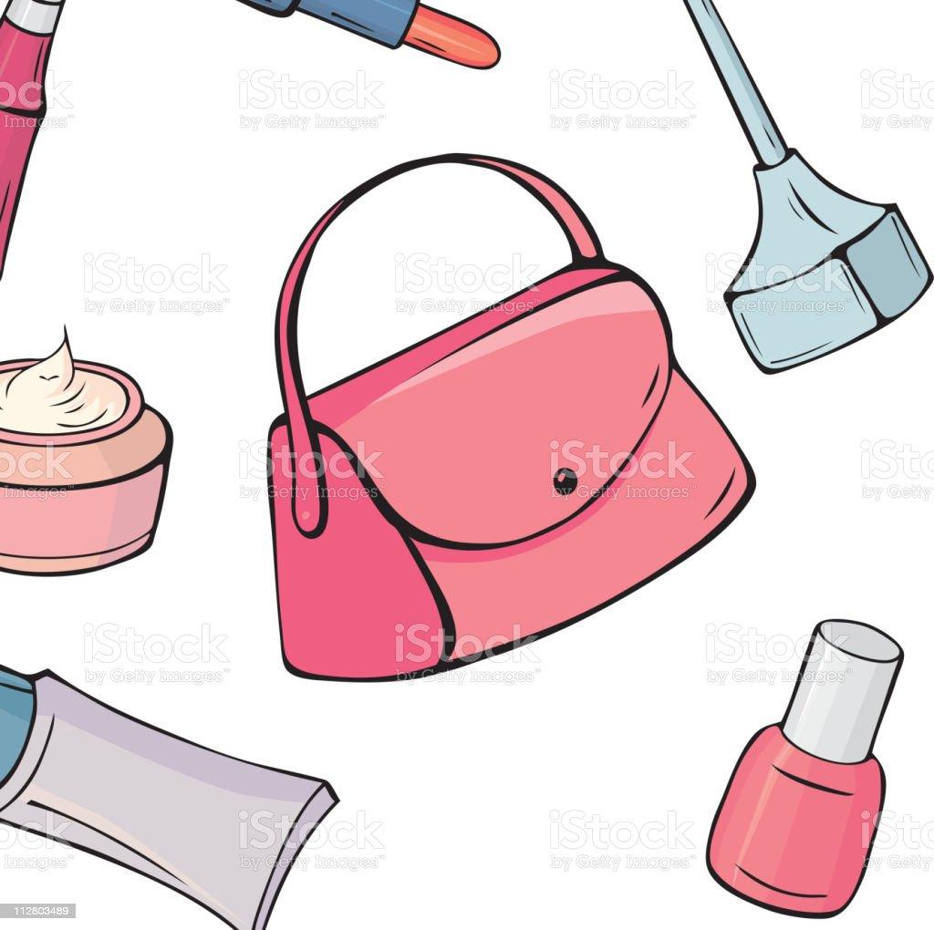 Set of various make-up items vector art illustration