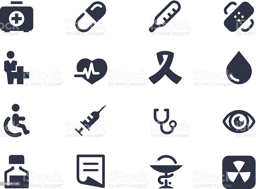 Set of various navy blue medical icons on a white sheet royalty-free stock vector art