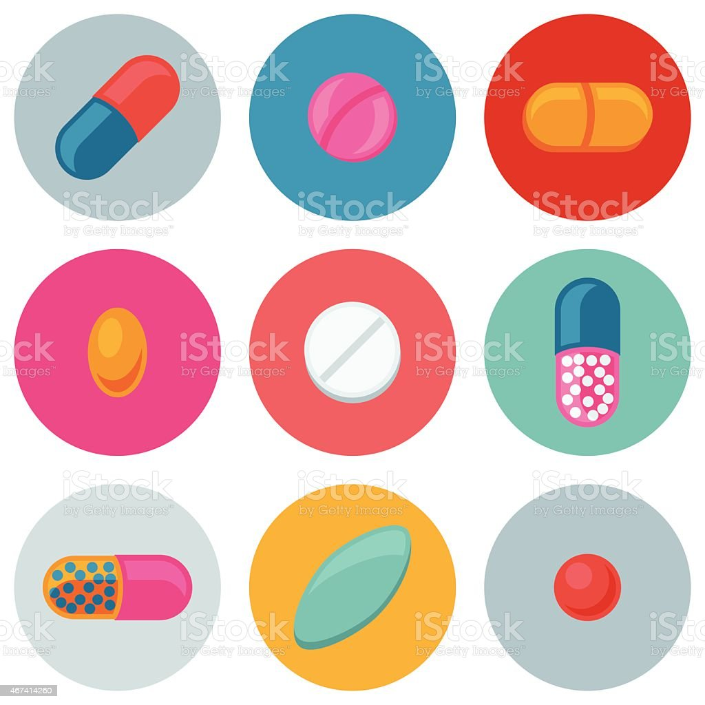 Set of various pills and capsules icons vector art illustration