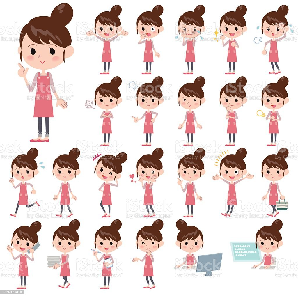 Set of various poses of Apron Bun hair mom vector art illustration