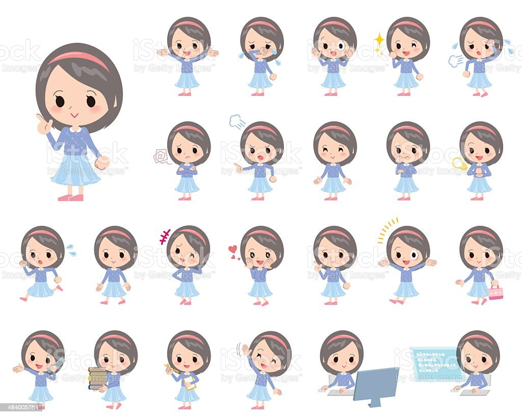 Set of various poses of Blue clothes Headband girl vector art illustration