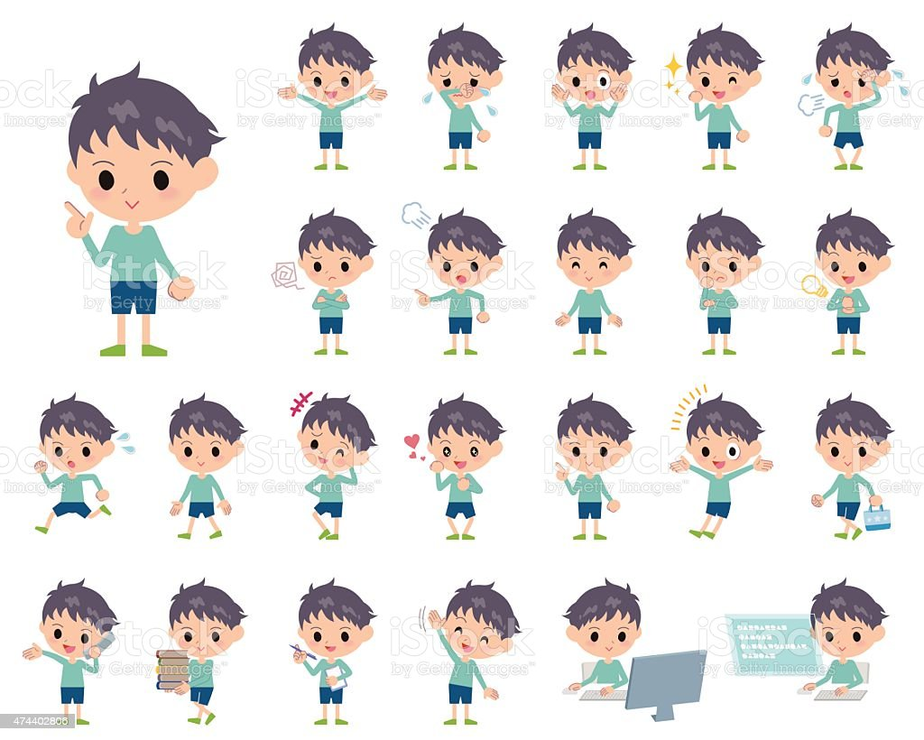 Set of various poses of Blue clothing boy vector art illustration