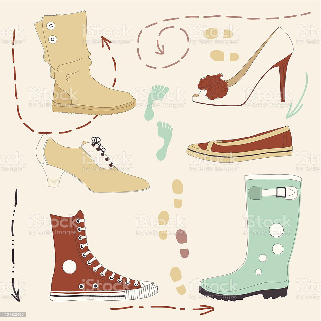 Set of Various Shoes royalty-free stock vector art