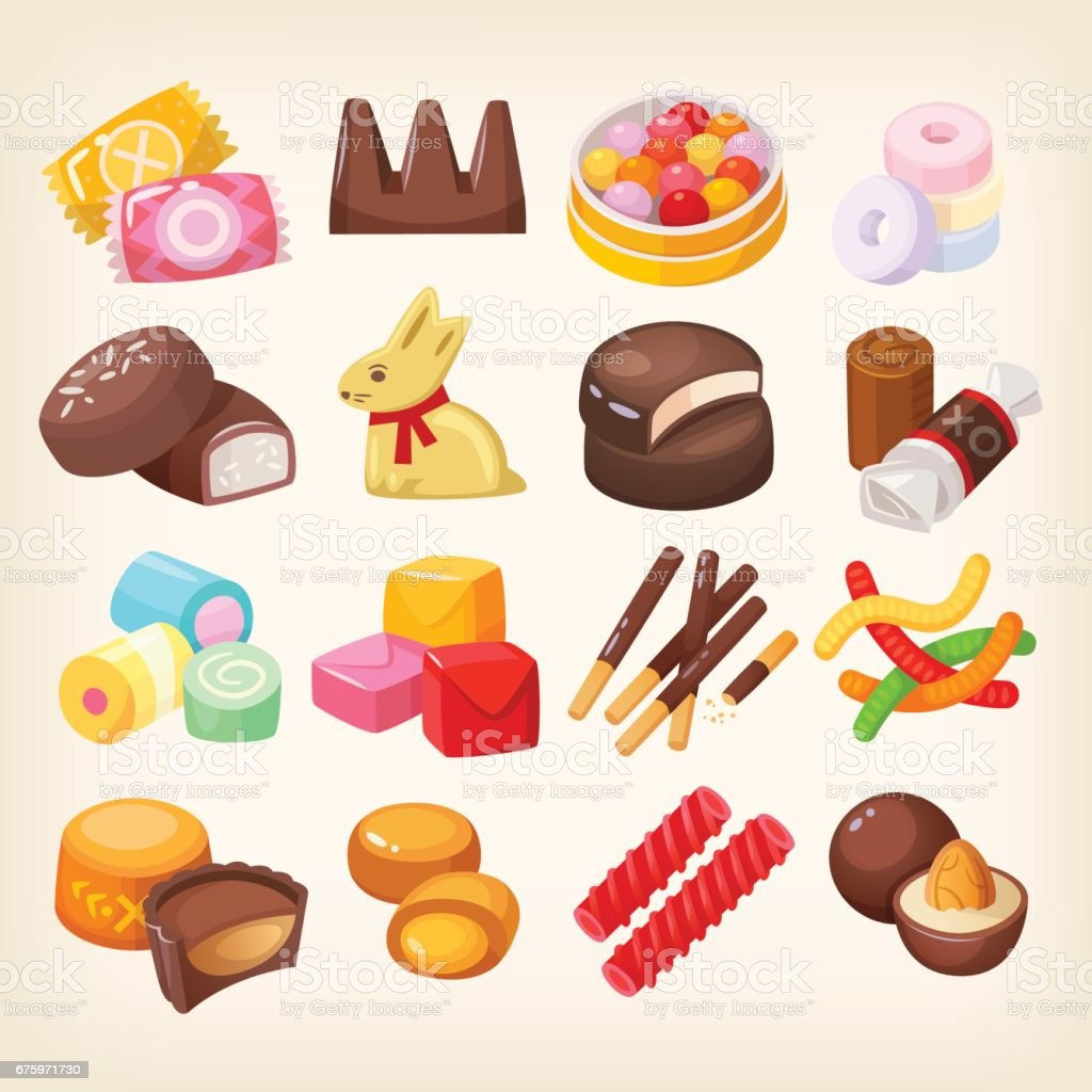 Set of various sweets vector art illustration
