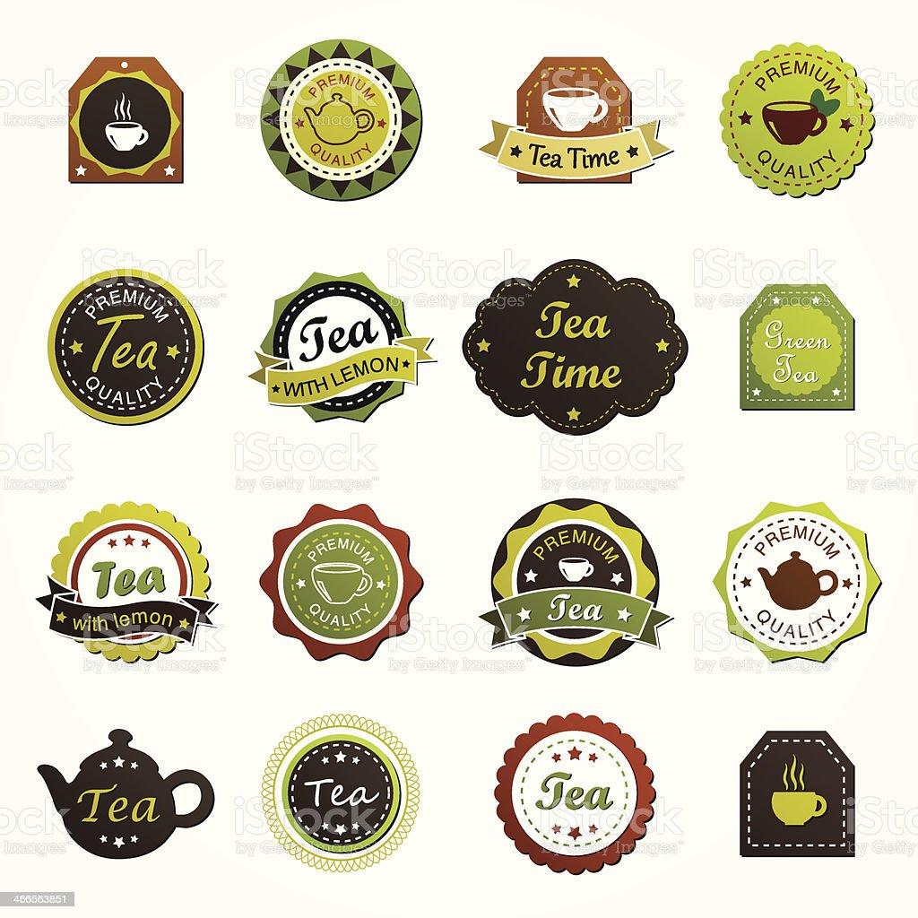 Set of various tea labels vector art illustration