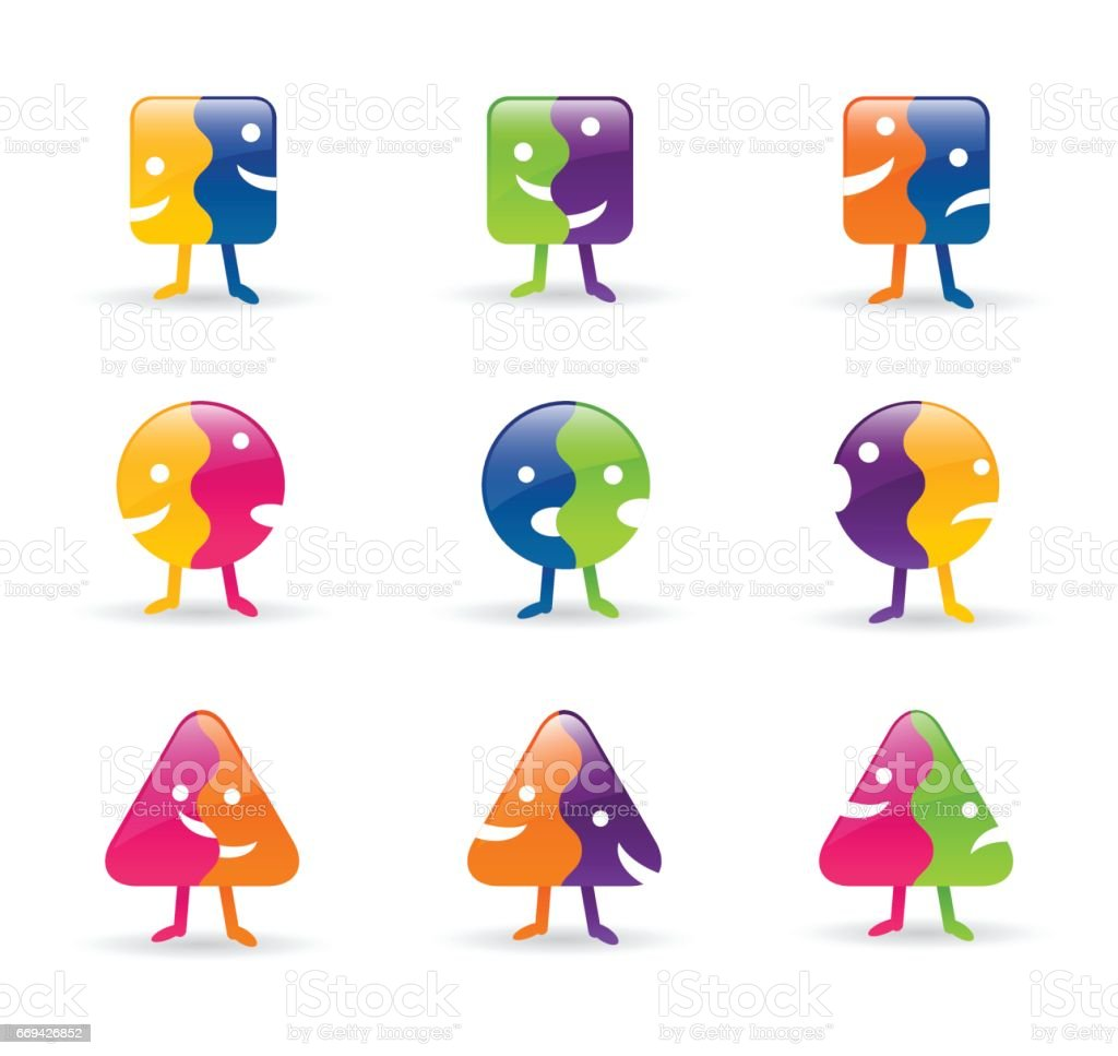 set of vector 2-faced icon characters. Split faces with different expressions. vector art illustration