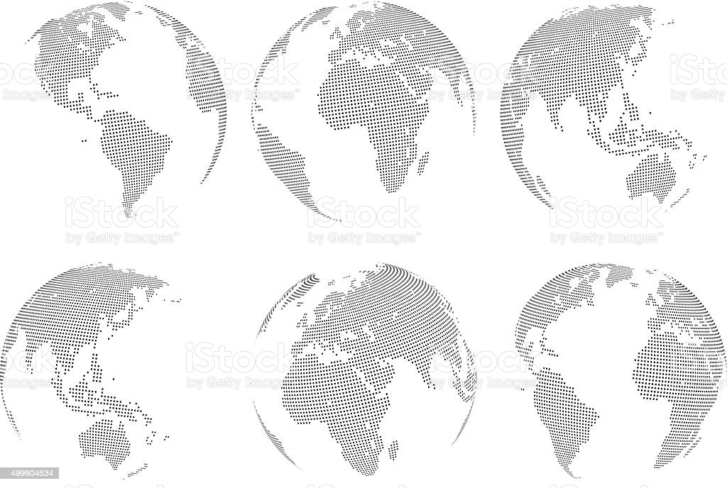 Set of vector abstract dotted globes vector art illustration