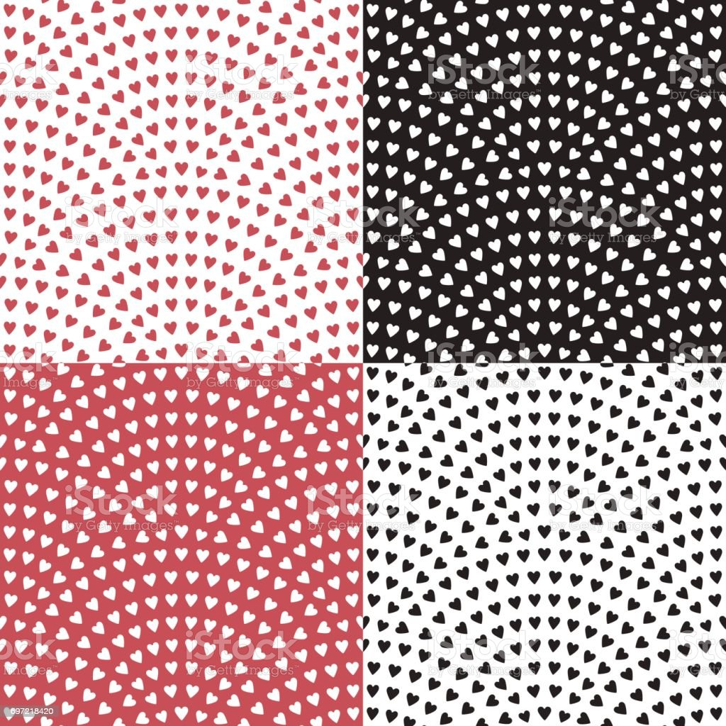 Set of vector abstract seamless wavy pattern, geometrical fish scale layout. Stylized  hearts on a pink red, white, black background. Fan shaped Valentine Day ornament. Holiday wrapping paper, textile vector art illustration