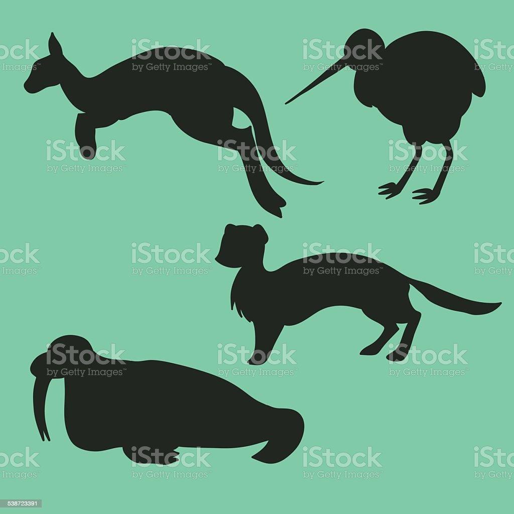 Set of vector animal silhouettes vector art illustration
