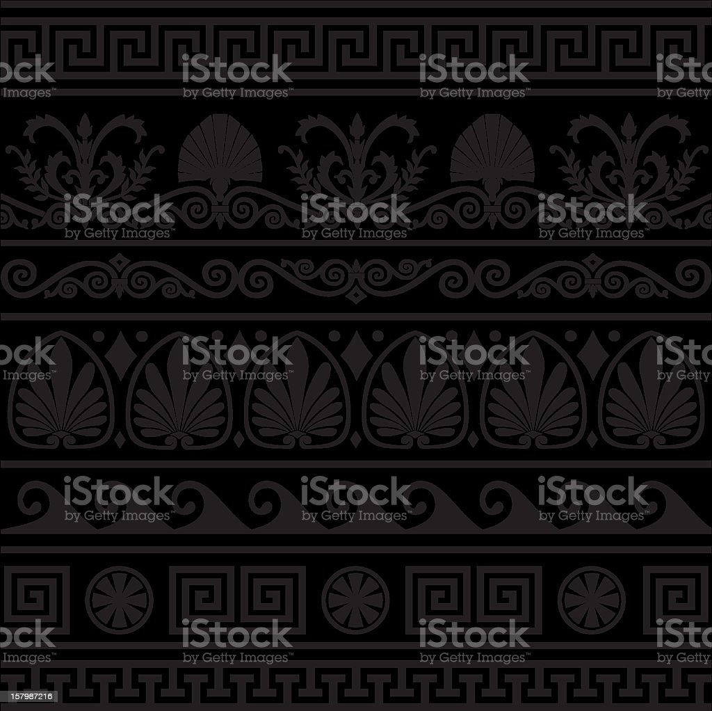 Set of vector antique greek borders vector art illustration