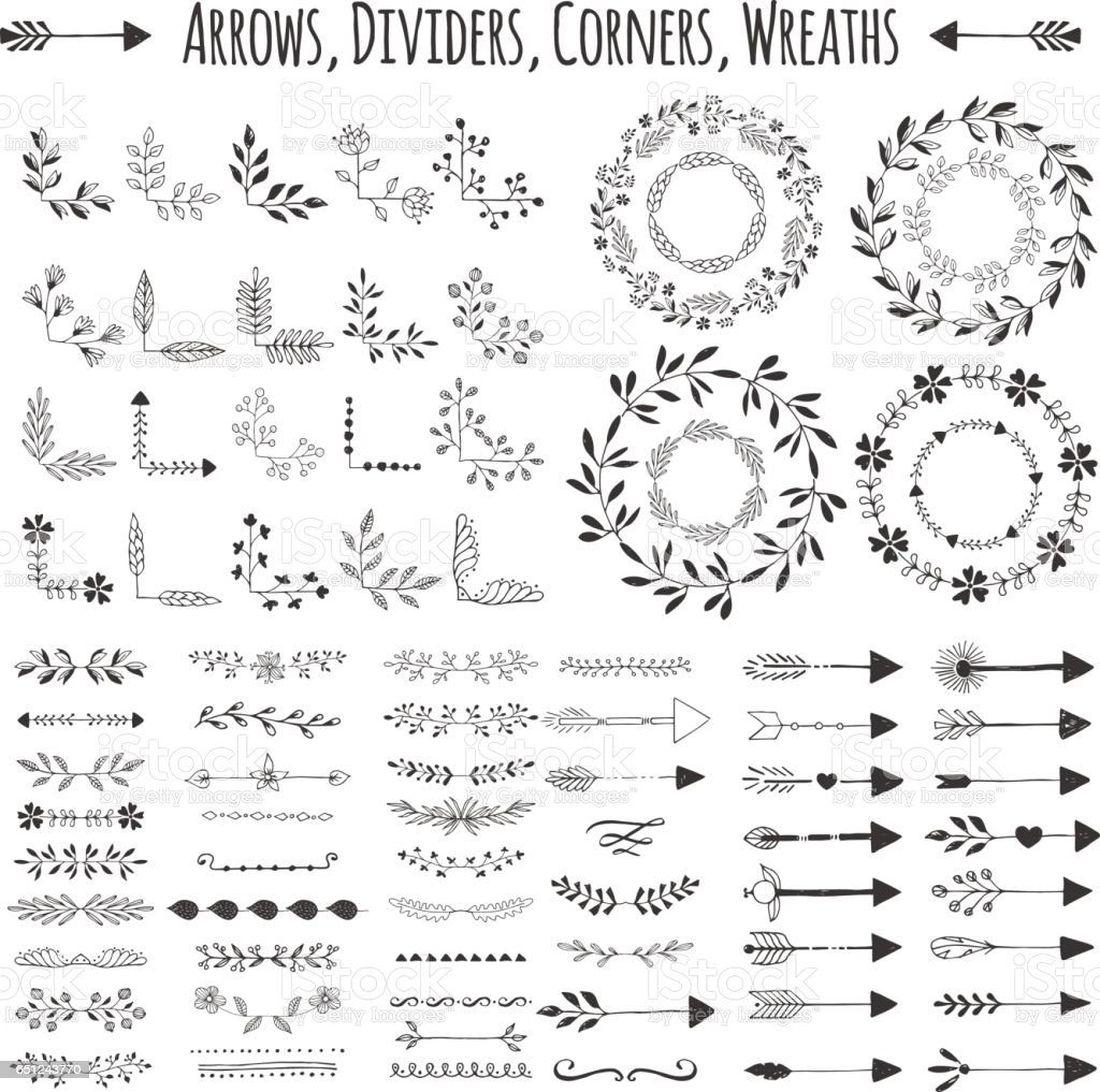 Set of vector arrows, wreaths, corners and dividers. Hand drawn design elements. vector art illustration