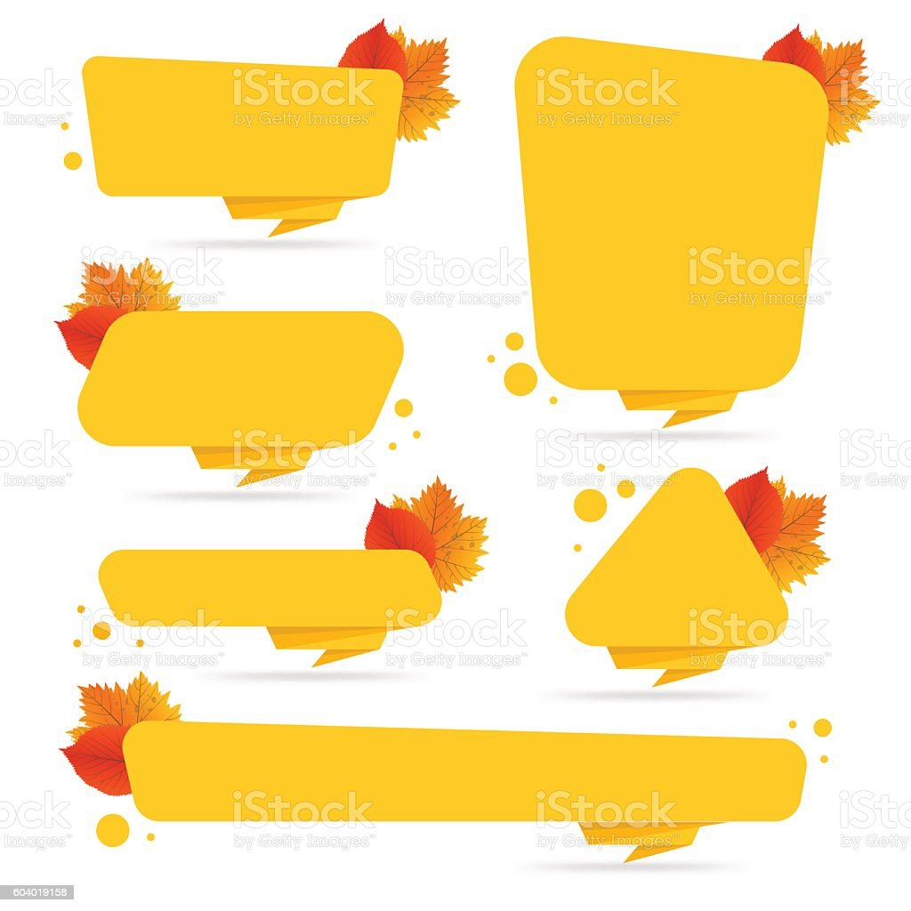 Set of vector autumn discount tickets, labels, stamps, stickers with vector art illustration