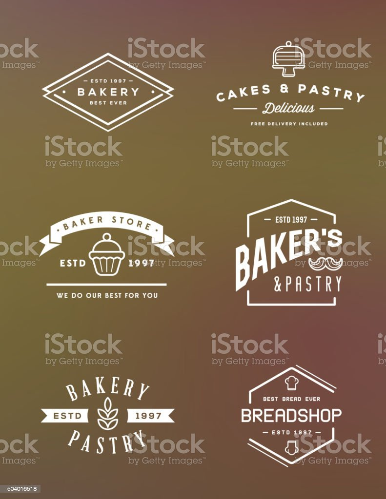 Set of Vector Bakery Pastry Elements vector art illustration