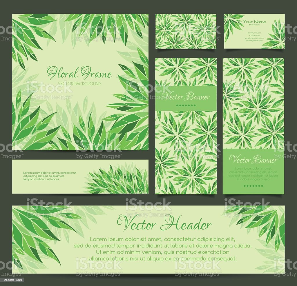 Set of vector banners, business card, frame and headers vector art illustration