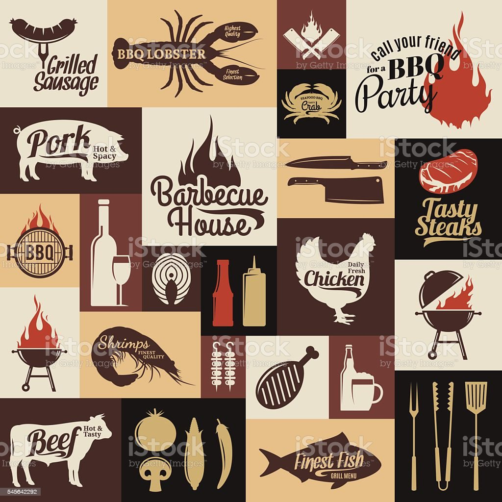 Set of vector bbq labels, icons and design elements vector art illustration