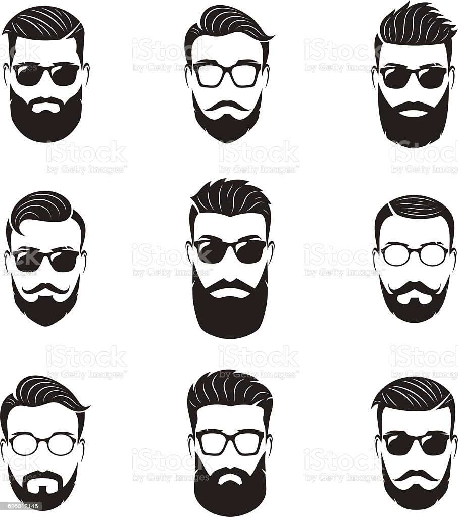 Set of vector bearded men faces, hipsters with different hairstyles vector art illustration