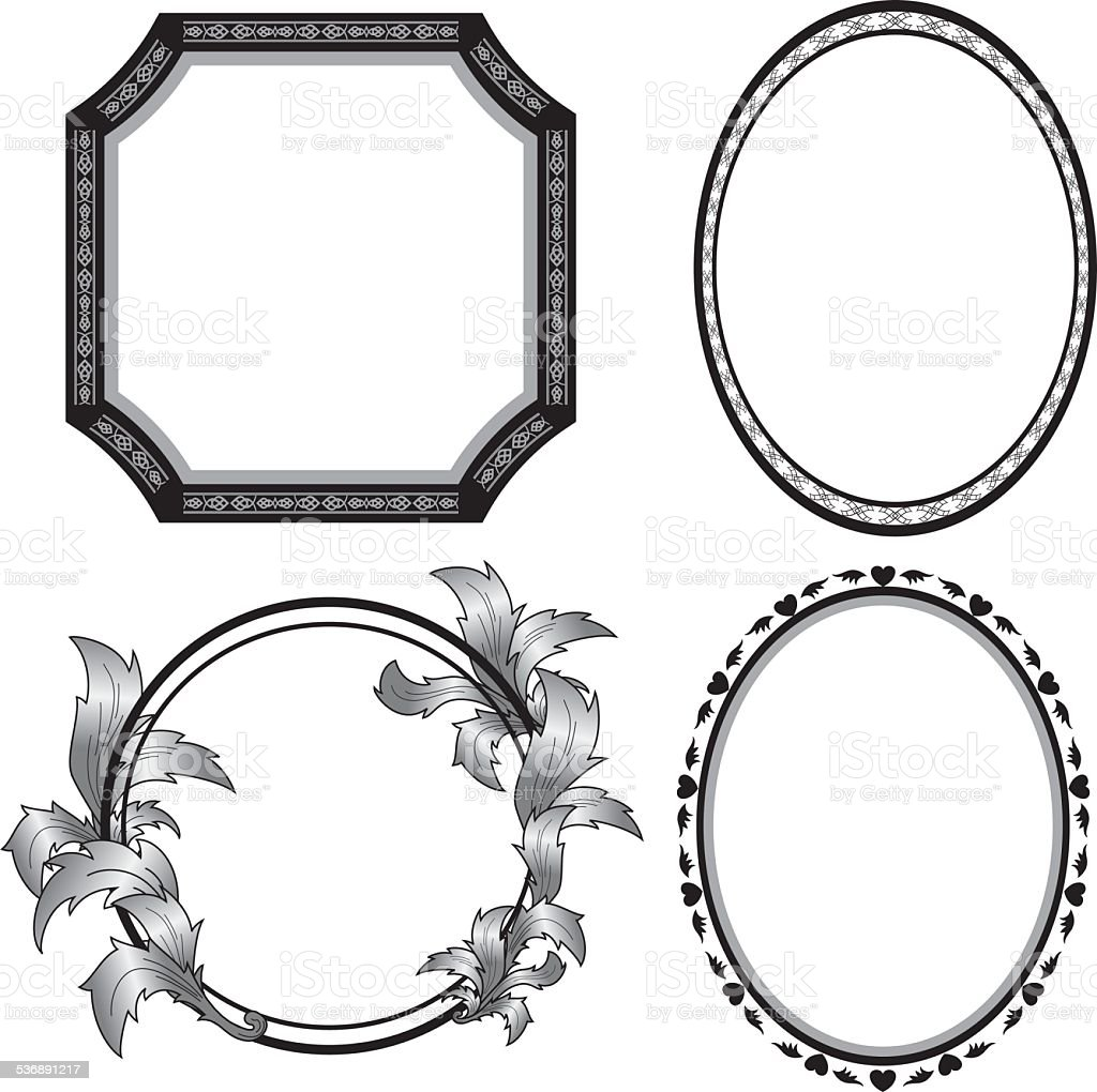 set of vector black frames vector art illustration