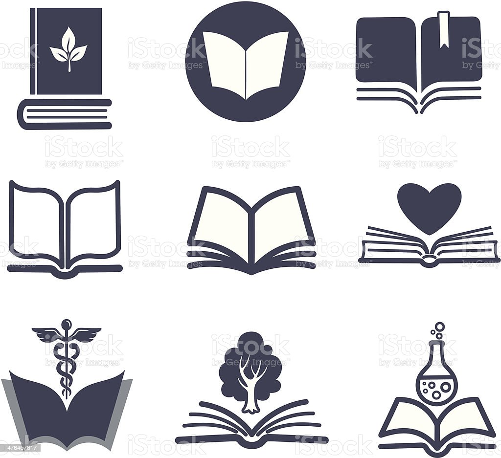 Set of vector book icons. vector art illustration