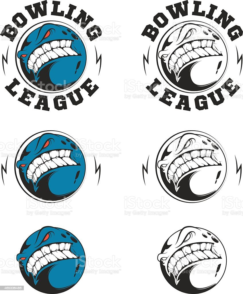 Set of vector bowling labels and badges. vector art illustration