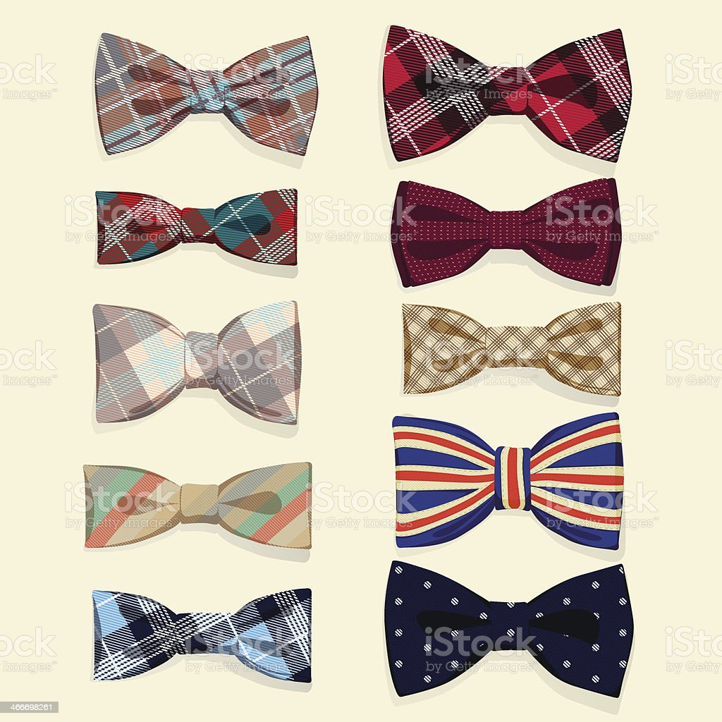 Set of vector bow-ties vector art illustration