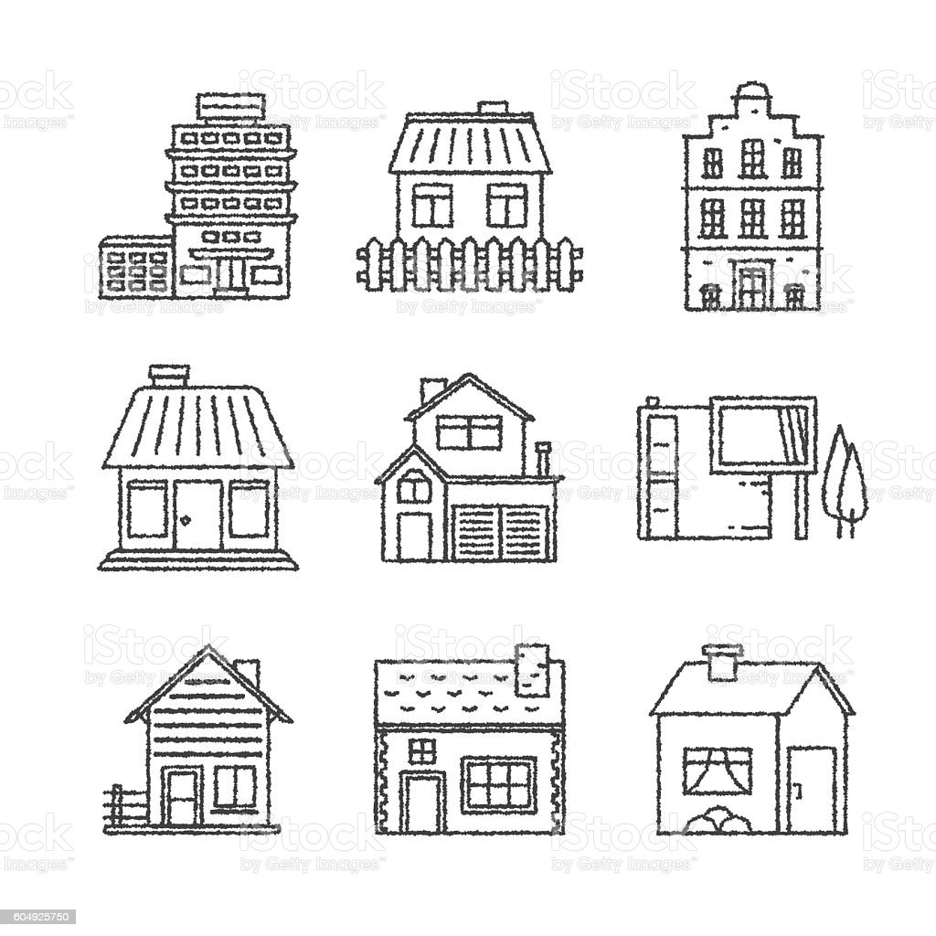 Set of vector buildings icons and concepts in sketch style vector art illustration