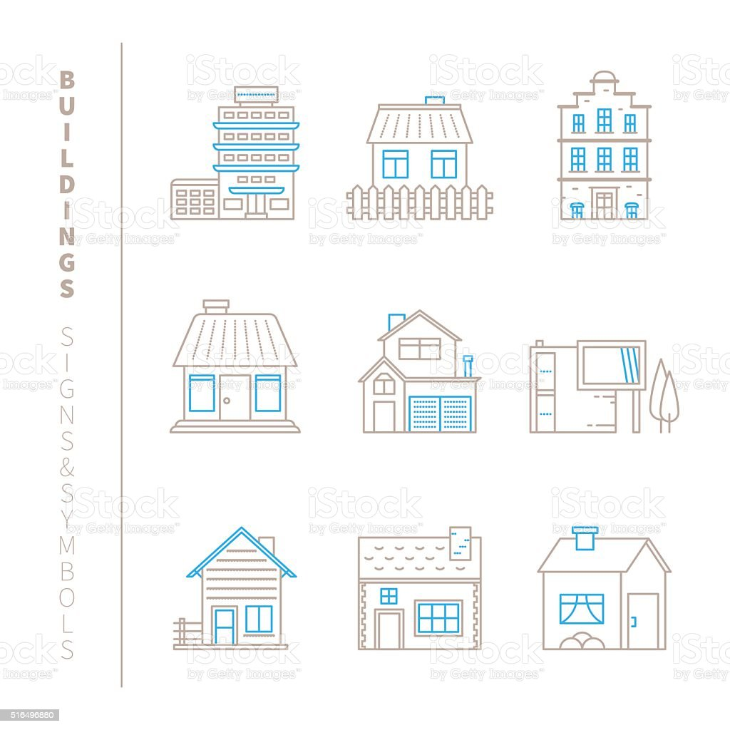 Set of vector buildings icons and concepts vector art illustration