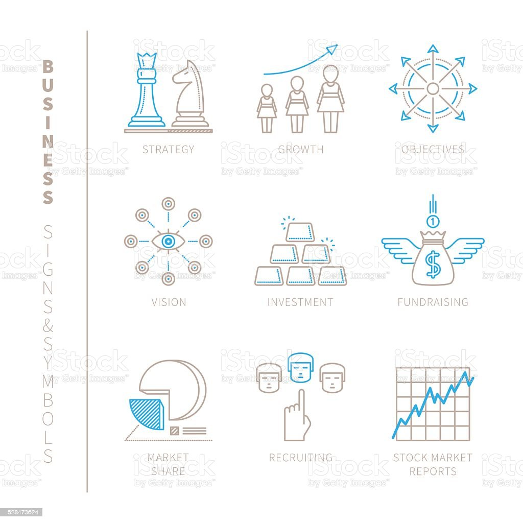Set of vector business icons and concepts vector art illustration