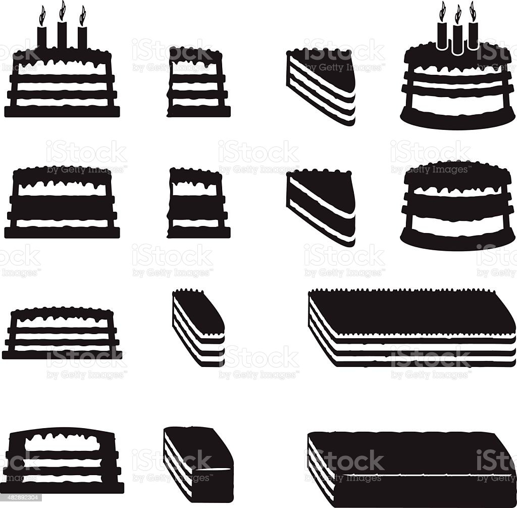 Set of vector cakes with slices vector art illustration