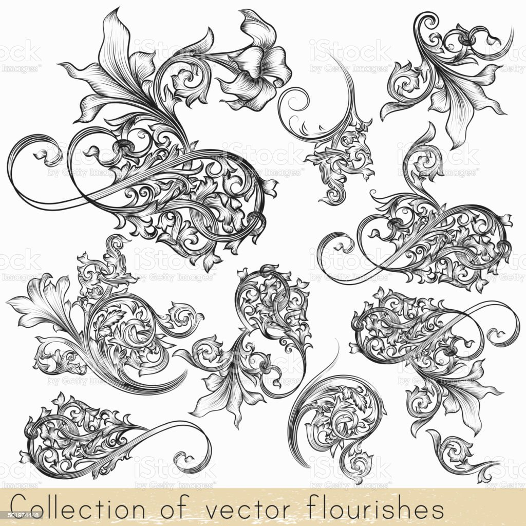 Set of vector calligraphic flourishes and swirls vector art illustration
