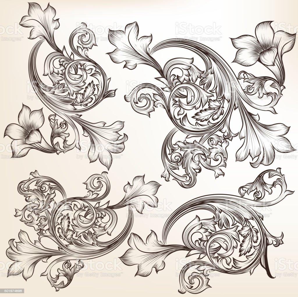 Set of vector calligraphic flourishes and swirls vector art illustration