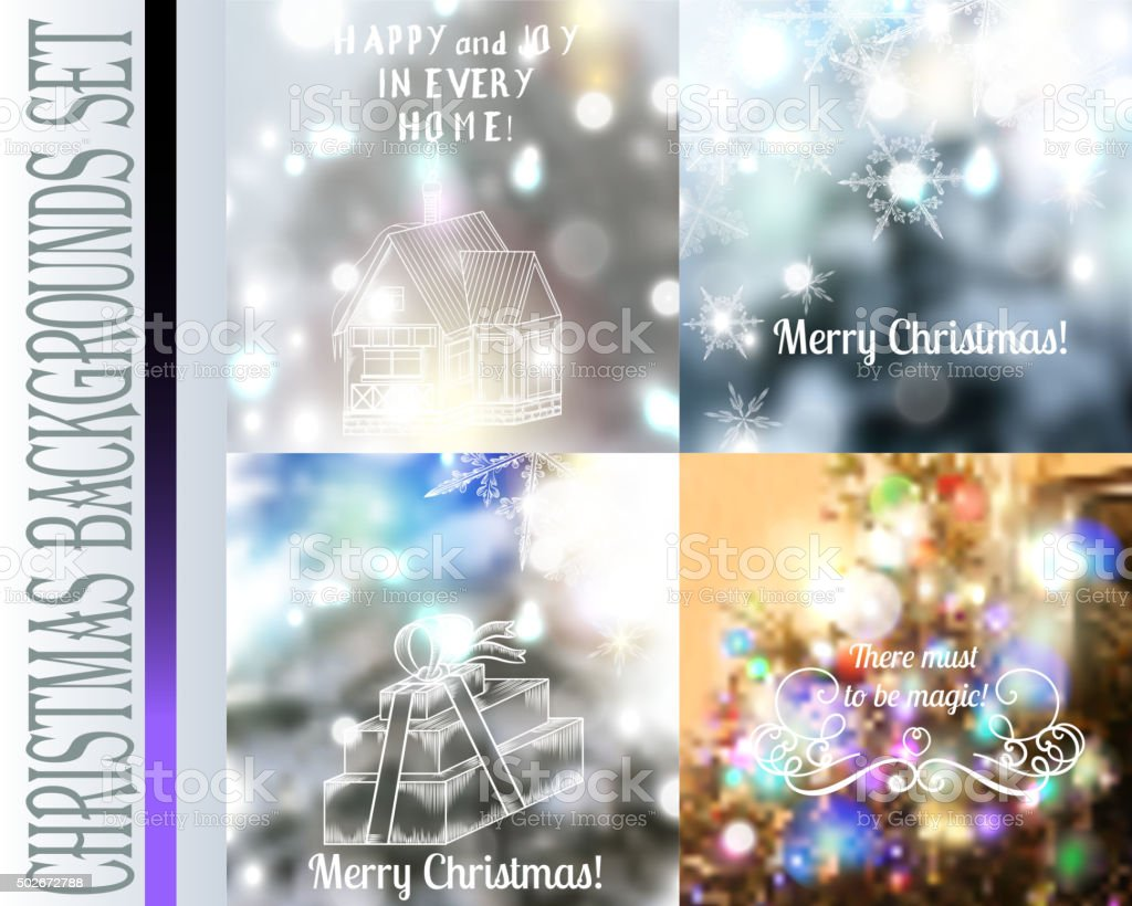 Set of vector Christmas blurred backgrounds with lights snowflak vector art illustration