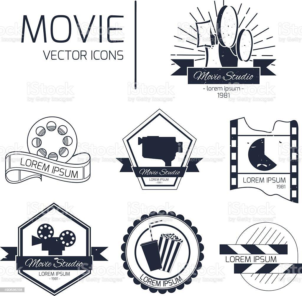 Set of vector cinema emblems vector art illustration