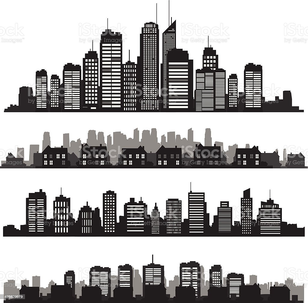 Set of vector cities silhouette and buildings vector art illustration