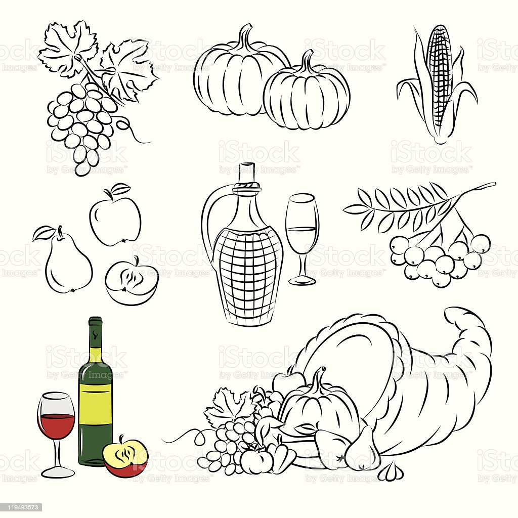 Set of Vector Clipart 'Autumn Harvest' royalty-free stock vector art