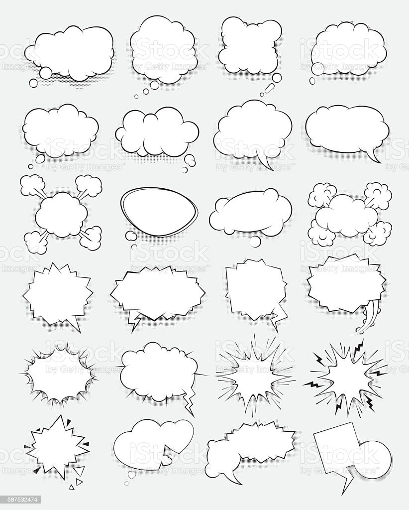 Set of vector clouds in the style of comics vector art illustration