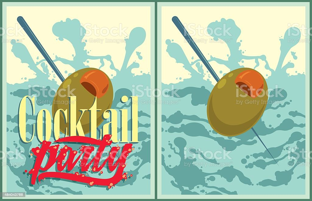 Set of vector Cocktail party posters vector art illustration