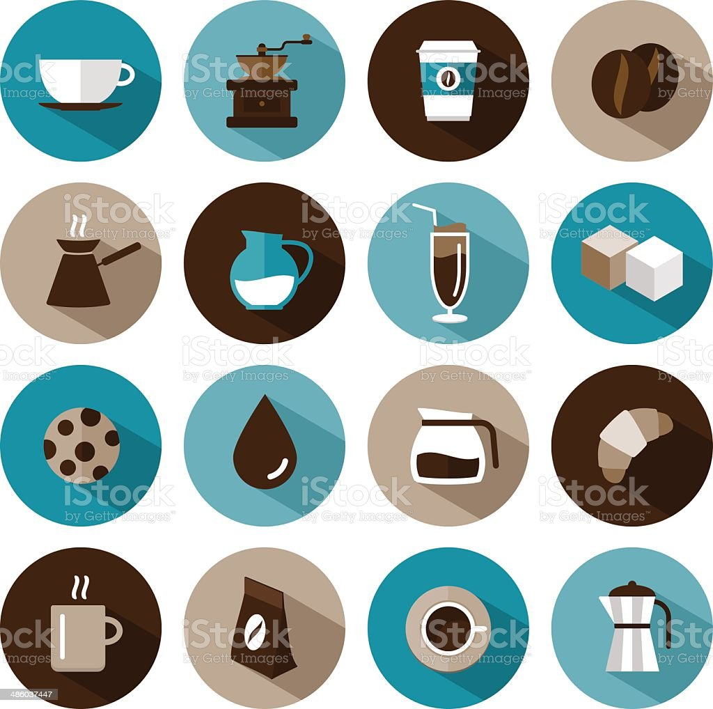 set of vector coffee icons vector art illustration