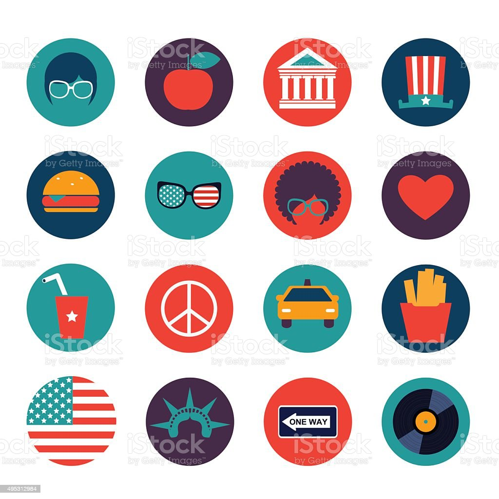 set of vector color flat icons of New York city vector art illustration