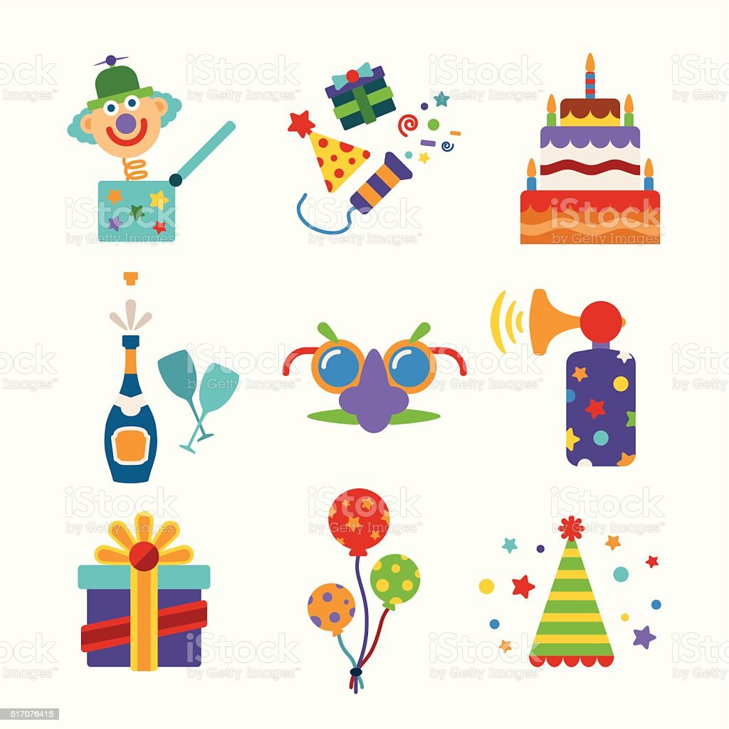 Set of vector colorful celebration icons in flat style vector art illustration